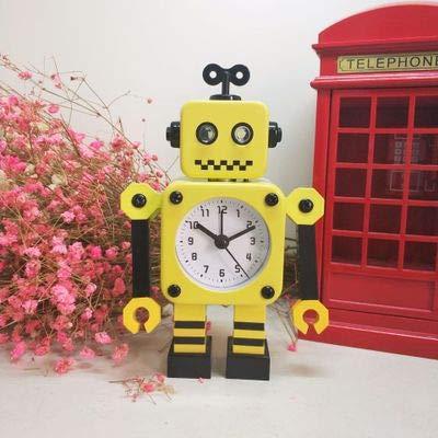Luxuryclock Creatieve wekker voor robots Transformé kinderen studenten Mooie persoonlijkheid van de strip kamer kleine wekker stille wekker van metaal 2752 Yellow Robot