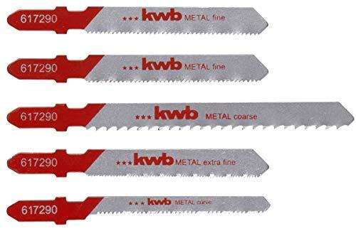 kwb 617290 5-teiliges HSS Metall-Stichsägeblätter Set für grobe, extra feine Schnitte inkl. Kurven-Sägeblatt mit T-Schaft S-20 / Einnockenschaft