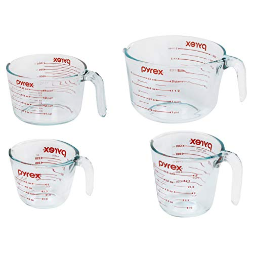 Pyrex Glass Measuring Cup Set (4-Piece, Microwave and Oven Safe ),Clear