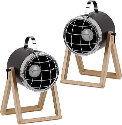 BRUBAKER set van 2 tafel- of vloerlampen spots industrieel design - tot 42 cm hoogte - voet van hout - koplamp metaal zwart