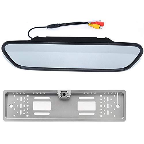 Boomboost - 5 Pouces Rétroviseur Affichage Cadre de Plaque d'immatriculation européen à 4 LED pour caméra de recul Noir