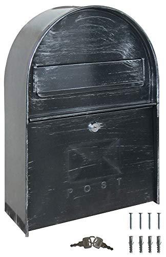 V2aox Retro Antik Nostalgie Vintage Briefkasten Postkasten Wandbriefkasten Antik-Grau