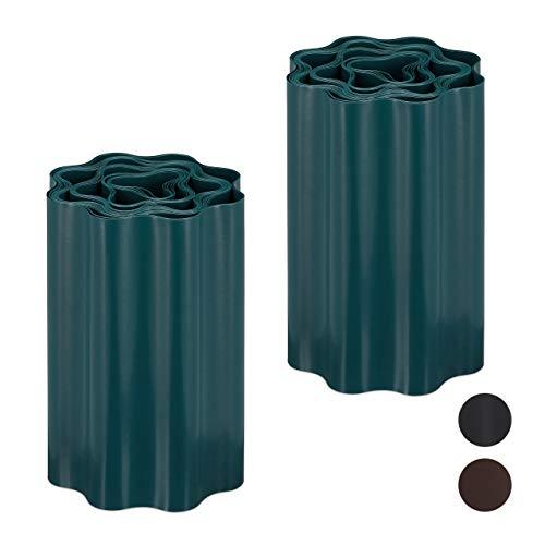 Relaxdays 2 x Flexible Rasenkante, wellige Beeteinfassung aus Kunststoff, Umrandung für Rasen & Beet, HT: 20 x 900 cm, grün