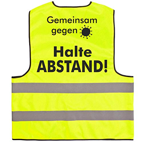 Warnweste · Halte Abstand · Funktionsweste Sicherheitsabstand Abstand halten 1,5m 2m Gelb Orange Neon Prävention Kontaktsperre Ausgangssperre Sicherheit · Gelb (Druck Schwarz) M