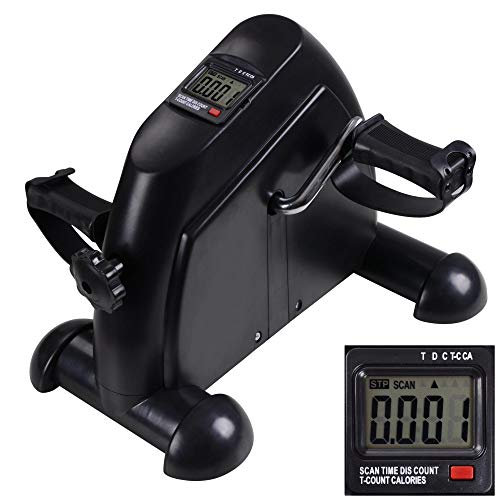 ReaseJoy Arm and Leg Pedal Exerciser with LCD Display Mini Exercise Bike Fitness Cycling Resistance Adjustable Black