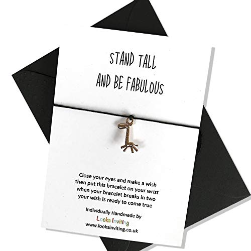 Giraffe Wish Bracelet Gift. Stand tall and be fabulous. Choose your colour of cord and envelope