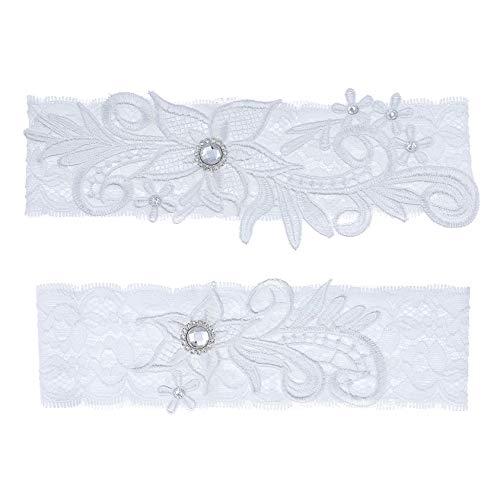 ZYYXB Liguero de encaje para mujer, diseño de piedras preciosas flexible, liga elástica, elegante, liguero de cristal para novia, vestido de dama de honor, decoración de boda, color blanco