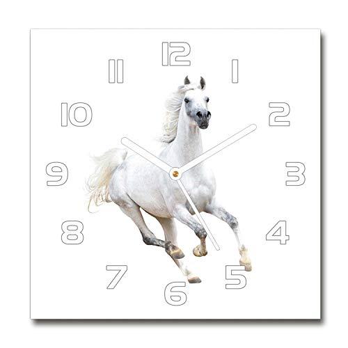 Tulup Reloj De Pared De Vidrio 60x60cm Silenciosa Moderno Grande Original Decorativo Manecillas Blancas - Caballo Árabe Blanco