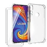 HYMY Hülle für Lenovo Z5S Smartphone + 2 x Schutzfolie Panzerglas -Transparent Schutzhülle TPU Handytasche Tasche Verstärkung an Vier Ecken Hülle
