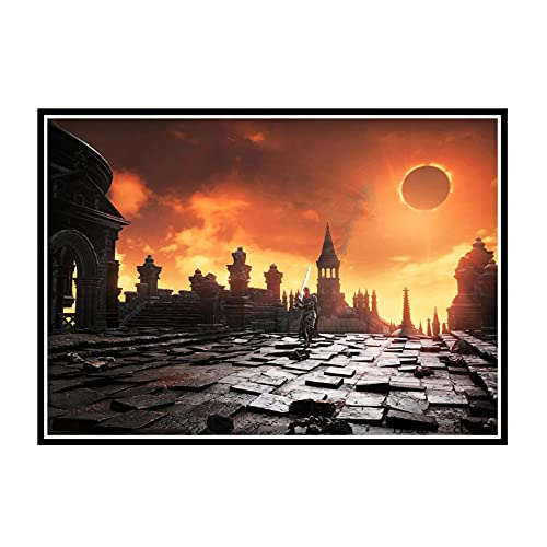 EFJPDL Dark Souls3ゲームポスターとプリントウォールアートキャンバスペインティングキャンバスプリントホームウォールデコレーション-60x80cmフレームなし