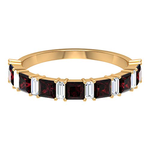 1.4Ct Princess Cut Garnet Wedding Ring, 0.4Ct SGL Certified Diamond Gold Ring, HI-SI Color Clarity Baguette Shape Diamond Ring, Gemstone Eternity Ring, 14K Yellow Gold, Size:UK Z+2