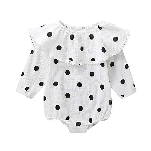 Luoluoluo kleine kinderen baby kinderen meisjes overall lange mouwen jumpsuit schoudertas met stip patroon voor kinderen jumpsuit rozen kraag met ruches