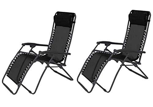 TIENDA EURASIA® Pack 2 - Tumbona Plegable Multi-Posiciones para Jardín - 95x65x105cm - Ideal para Uso en la Terraza o Jardín (Negro)