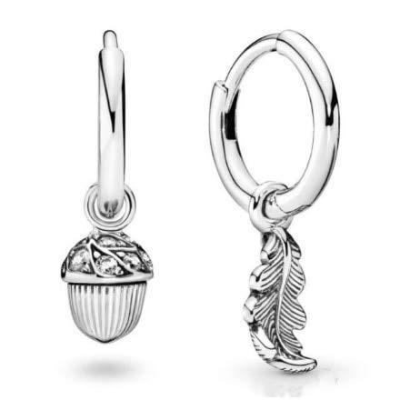 925 pendientes de plata de ley bellota & hoja pendientes con cristal para las mujeres boda fiesta regalo joyería de moda