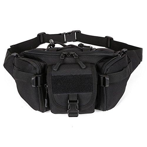 YFNT Táctica Cintura Pack portátil riñonera al Aire Libre Ejército Bolsa de Cintura Militar de frío para Ciclismo Camping Senderismo Caza Pesca, Negro
