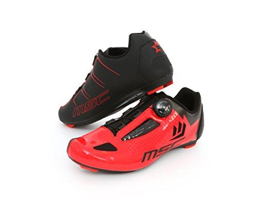 MSC Bikes Aero Road Zapatillas, Unisex Adulto - Rojo - EU 43