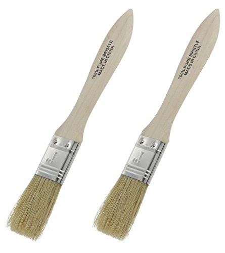 Ram-Pro Classic Natural Pure Bristles Bristle Pastry Brushes, Wood Handle Lacquered Hardwood Long Pure Basting glazing Brush Easy to Clean, Great for Butter Boar Bristles Brush (Set of 2)