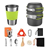 13 Pcs Camping Cookware, Camping Pots and Pans Set with Backpacking Stove, Camping Cooking Set for Outdoor Camping Backpacking Hiking Picnic