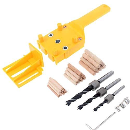 Odoukey Hand Dowel Jig Kit mit Holzspannstifte Bohrer Holzbearbeitung Joiner