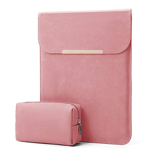 KALIDI 13.3 inch Laptop Sleeve Case Faux Suede Leather for MacBook Air/13 inch MacBook Pro Retina 2017 2016,MacBook 13-13.5 inches + Accessories Pouch,Pink
