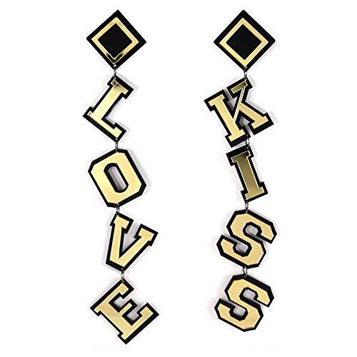 Arete Pendientes Colgantes De Acrílico Kiss Love Lette De Declaración, Pendientes Largos De Color Dorado Punk Para Mujeres, Regalos Para El Día De San Valentín