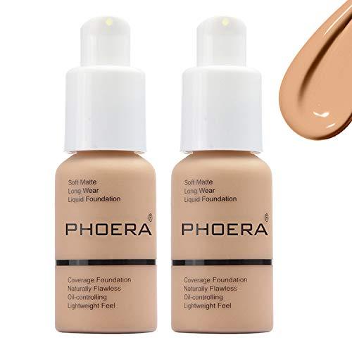 Phoera Foundation Matte Oil Control Concealer Foundation Cream,Long Lasting Waterproof Matte Liquid Phoera Foundation,#104 Buff Beige-30ml(2Pack)