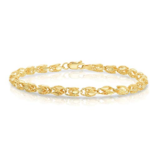 Floreo 10k Yellow Gold 4.5mm Turkish Rope Chain Bracelet and Anklet, 8 Inch