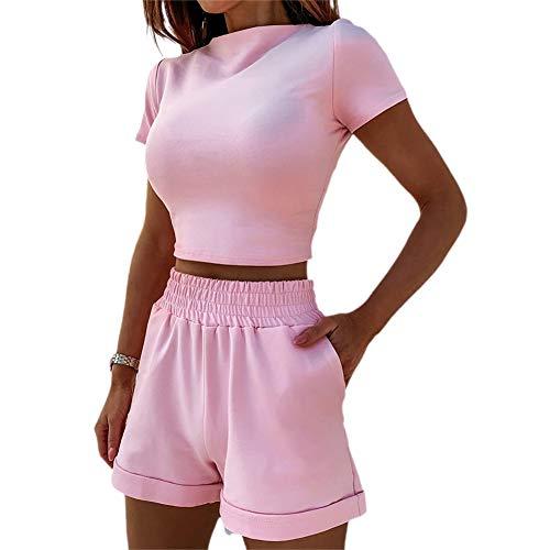 2 Pieces Set Women Textured Workout Shorts Sets Short Sleeve Crop Top + High Waist Short Pants Suits Biker Shorts Yoga Outfit,Casual Outwear Cloth Sets (Pink, Large)