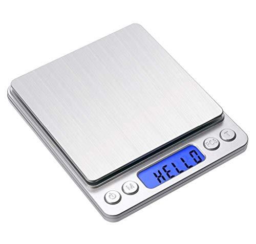 Toprime Balance de cuisine numérique haute précision en acier inoxydable avec écran LCD rétroéclairé Argenté 500 g 0,01 g