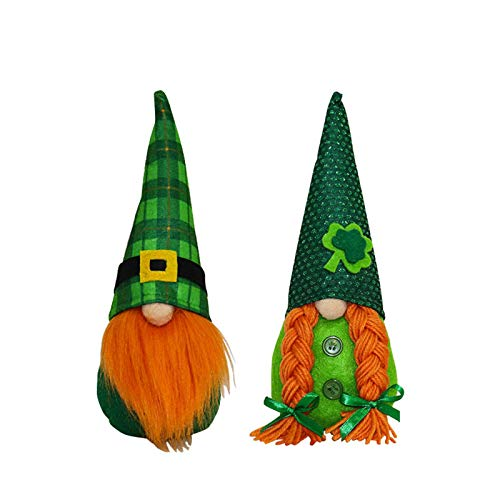 Gaoqi Un Regalo Presente Decoraciones del día de San Patricio Trébol Verde Muñeca Linda sin Rostro
