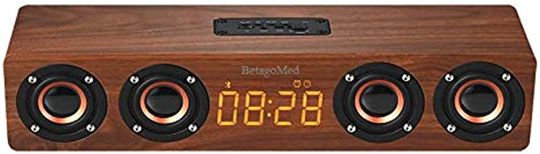 BetagoMed Wooden Bluetooth Speaker with Alarm Clock Function, Four Speakers, Smart Compatibility and Portability, 360-degree Surround Sound with high Fidelity and Heavy bass