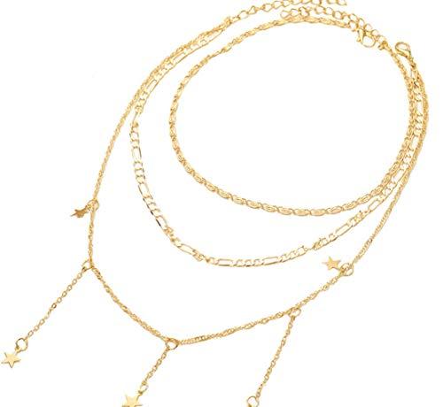 MCAdianpu Dameshalsketting, Europese en Amerikaanse mode, meerlaagse vijfpuntige ster, unieke stijl, halsketting, combinatie