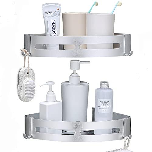 Laimew Estantes de Esquina de baño Esquina de Carrito de Ducha con Ganchos Sin taladrar Estante de baño de Alunimun Organizador de Almacenamiento de Cocina (Plata)