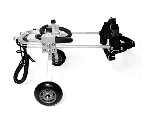 QJB Einstellbare tragbaren Haustier Hund Rollstuhl medizinische Rollstuhl Behinderung Assistenzhund Hinterbeine, justierbarer Aluminium Zwei tragbare medizinische Hilfe Rollstuhl Rollator zu Fuß,