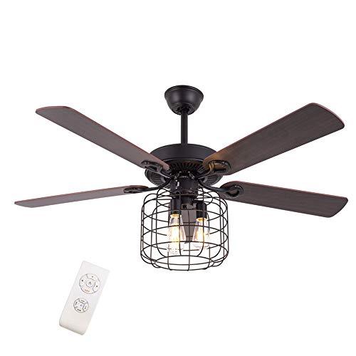 Ventilador de techo con iluminación, mando a distancia, ventilador de 132 cm, ventilador ultrasilencioso, 5 aspas reversibles, 3 velocidades de viento