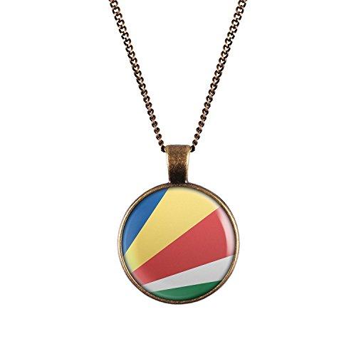 WeAreAwesome Seychellen Flagge Halskette - Länderkette mit Fahne Anhänger Unisex Kette Indischer Ozean