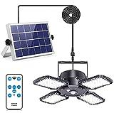Solarlampen für Außen Innen, Neu Aktualisierter Tagesmodus, 1000 lm 128 LED Solarleuchten mit 4 Modus/Fernbedienung/IP65 Wasserdichte, 120 ° Verstellbarem Solar Hängeleuchte für Garten Garagen Balkon