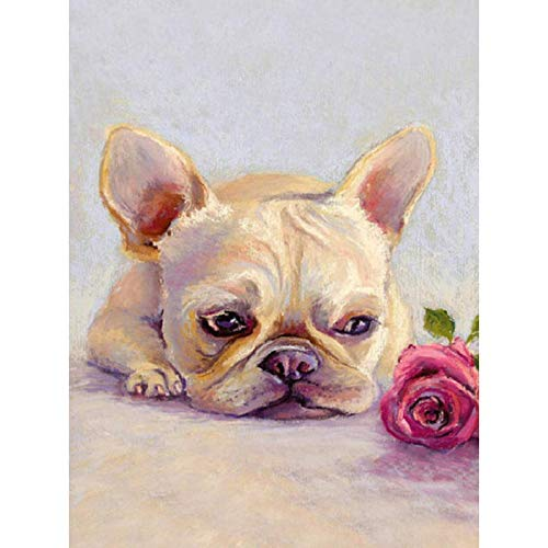DIY Diamond Painting French Bulldog by Number Kits Round Drill Embroidery Rhinestone Pictures Arts Craft for Home Wall Decor 12x16In