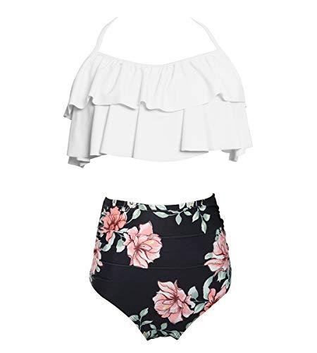 Big Girls Two Piece Tankini Swimsuit Hawaiian Ruffle Swimwear Bathing Suit Set 140 White Black 7-8 Years
