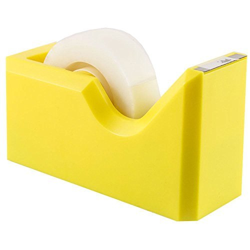 JAM PAPER Colorful Desk Tape Dispensers - Yellow - Sold Individually