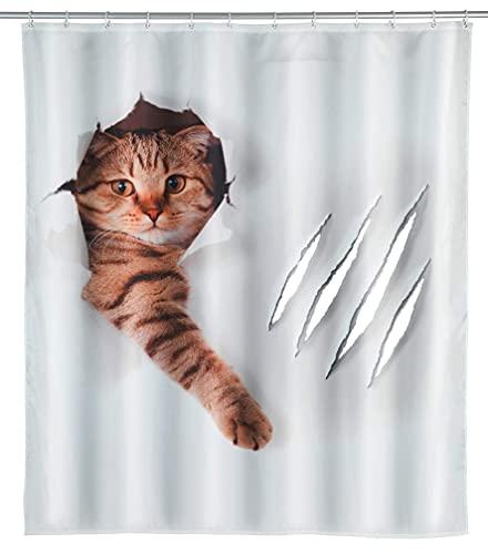 WENKO Duschvorhang Cute Cat - Textil , waschbar, wasserabweisend, mit 12 Duschvorhangringen, Polyester, 180 x 200 cm, Mehrfarbig