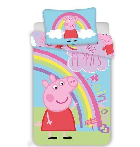 Kinderbettwäsche Peppa Pig 2-teilig 100% Baumwolle 40x60 + 100x135 cm mit RV (Peppa Rainbow))