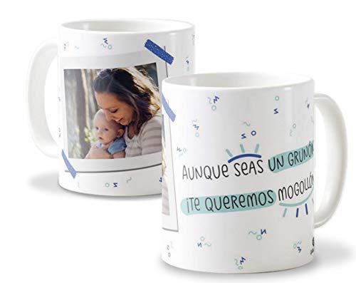 Tazas Ideales para papá | Tazas de cerámica Blanca Día del Padre Elige Entre Varios diseños | Diseño Aunque Seas un gruñón.