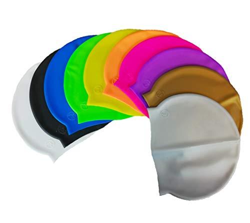 SWIMXWIN Cuffia in Silicone Monocolore Nuoto Piscina Taglia Unica Tenuta Stabile (Bianco)