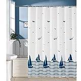 XGXQBS wasserdichte Duschvorhang, Anti-schimmel Weiß Vorhang Für Badezimmer Polyester Badvorhänge Blaues Segelboot-a 180x190cm(71x75inch)