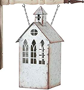 K&K Interiors Galvanized Tin Church with Steeple and Cut Out Windows Candleholder Arrow Replacement