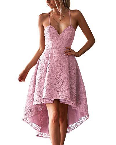 ABYOXI Damen Elegant Spitzenkleid Verstellbare Spaghettiträger Cocktail Party Ballkleid Brautjungfernkleid Rosa # M