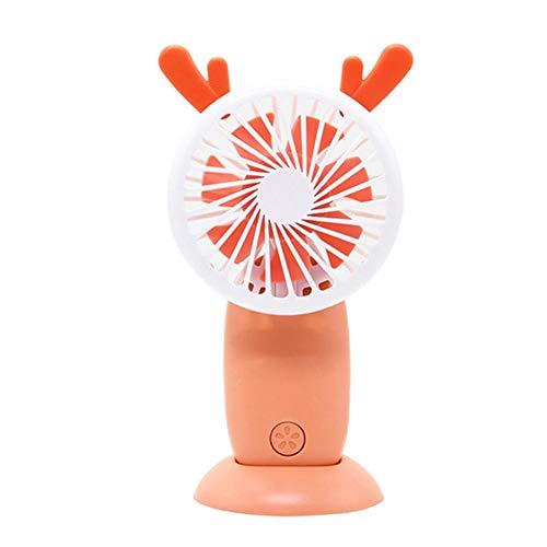 Cartoon Wiederaufladbarer kleiner Ventilator für Blasen, USB, tragbar, hohe Windkraft, Mini-Ventilator für Nachtlicht mit 2 Flaschen, leicht, tragbar 2 Arance