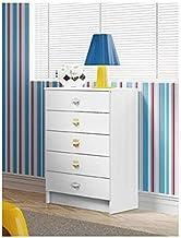 Ditalia Wooden Five Drawer Cabinet, White - H 92 cm x W 60 cm x D 38 cm