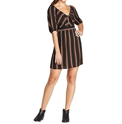 Xhilaration Women's Striped 3/4 Sleeve V-Neck Tie Front Mini Dress - Black Stripe - (Medium)